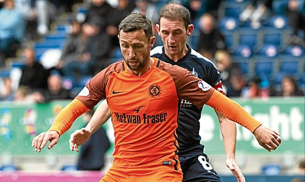 Dundee United's Scott McDonald holds off Falkirk's Mark Kerr
