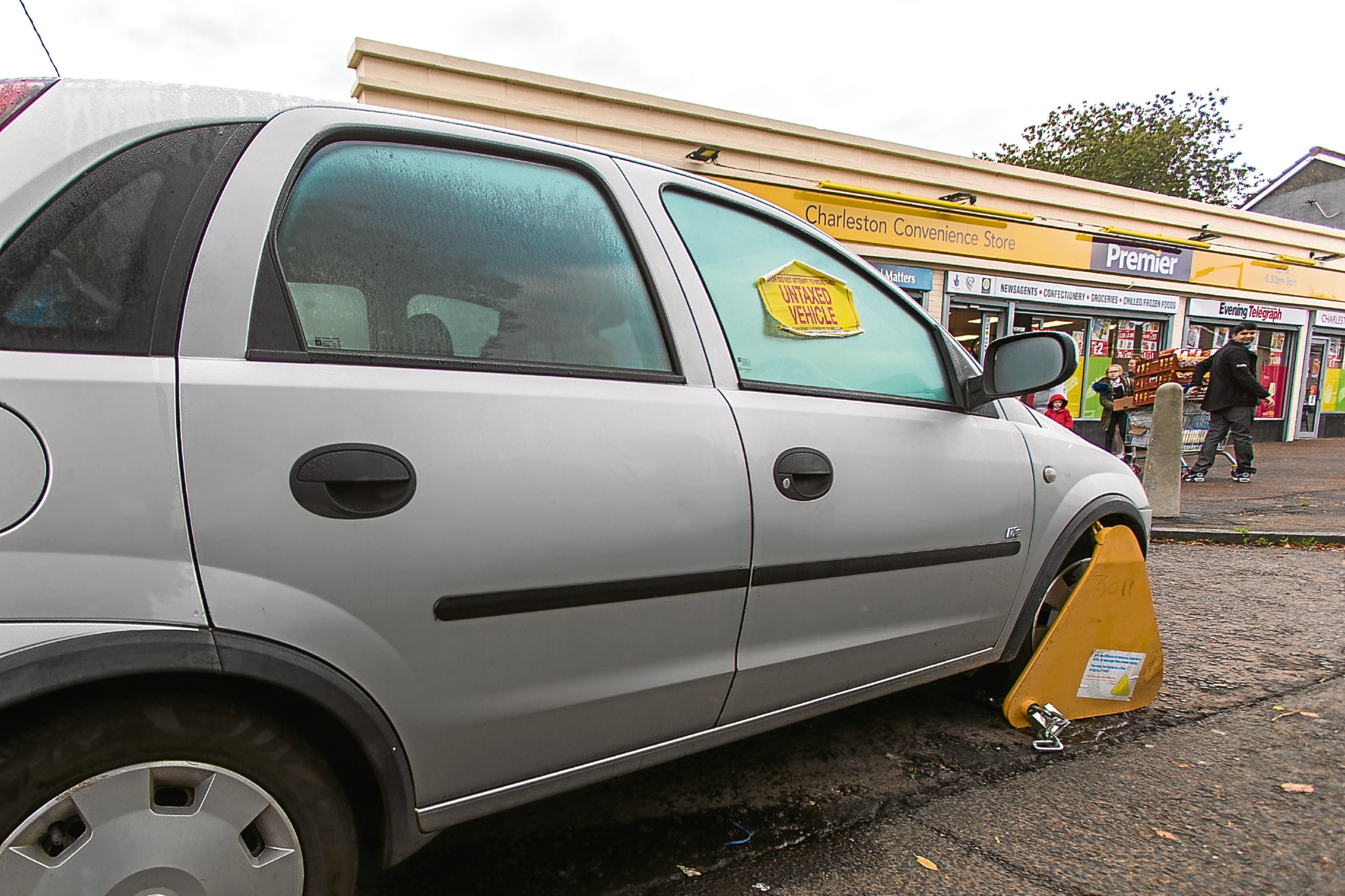 A car in Charleston which was clamped as part of the enforcement action.