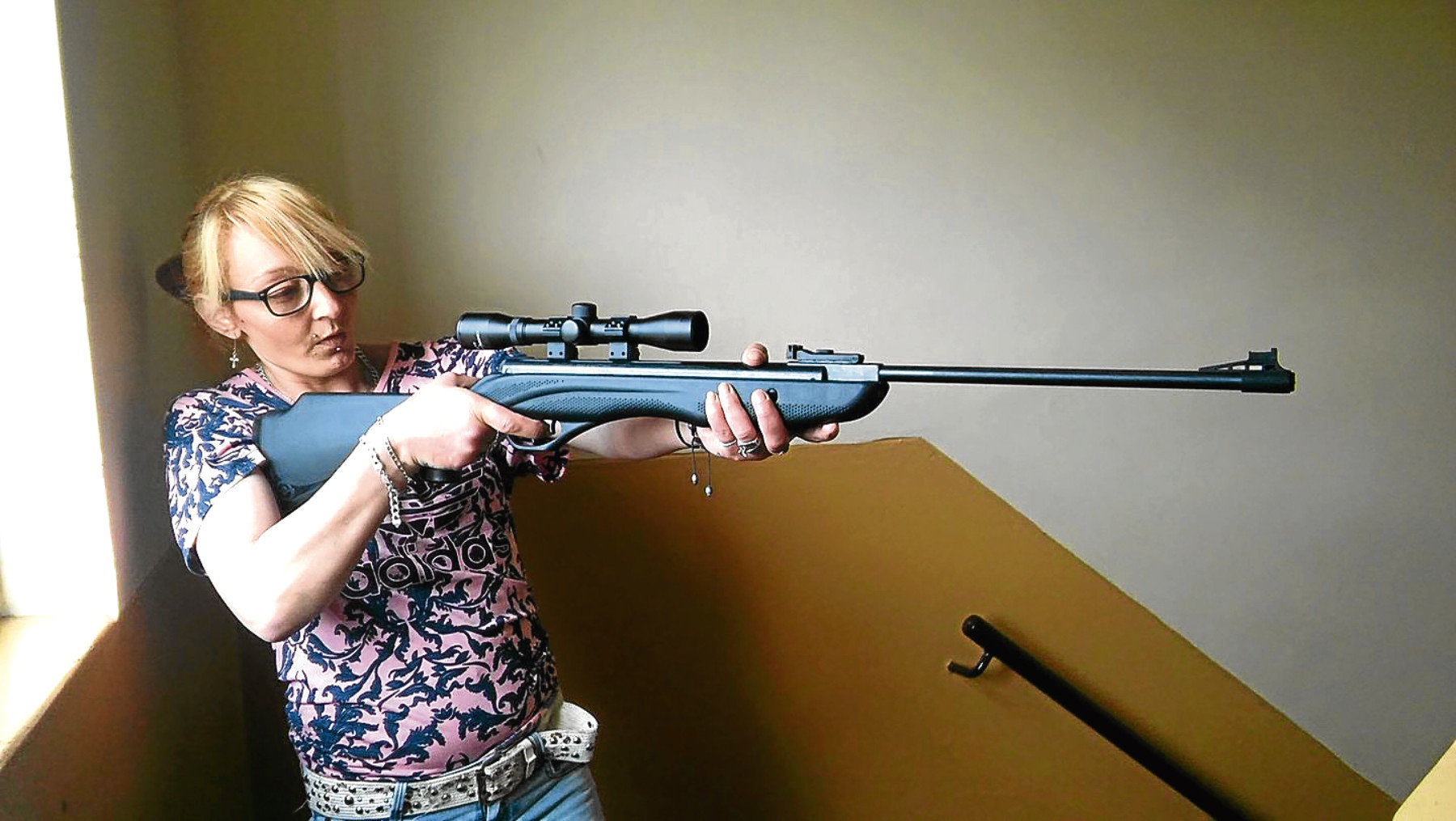 "Jolene Shields posted an image of herself on social media holding what appeared to be an air rifle. She has since said it was in fact ""a toy""."