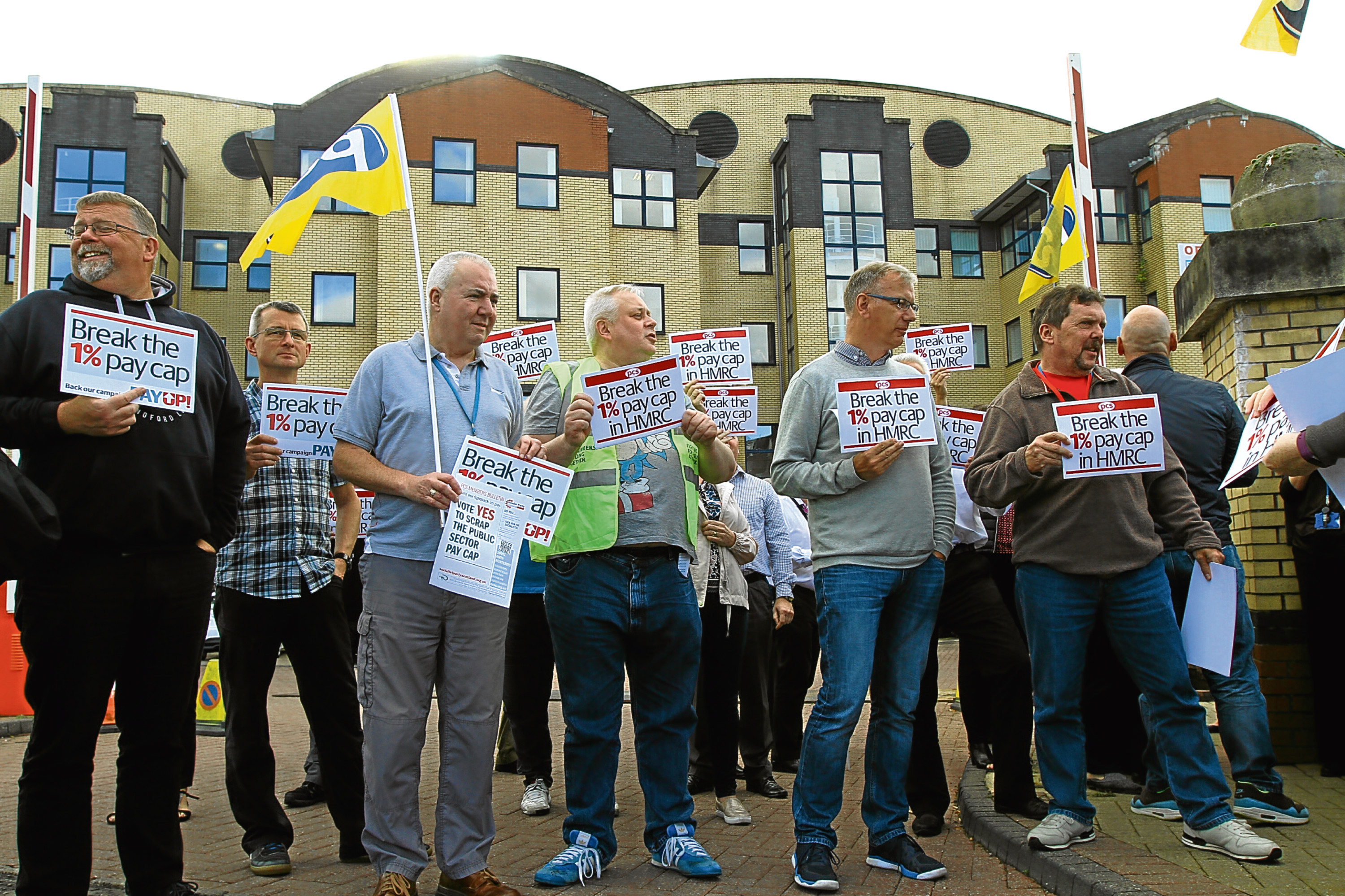 The PCS Union protests outside Caledonia House in Dundee yesterday