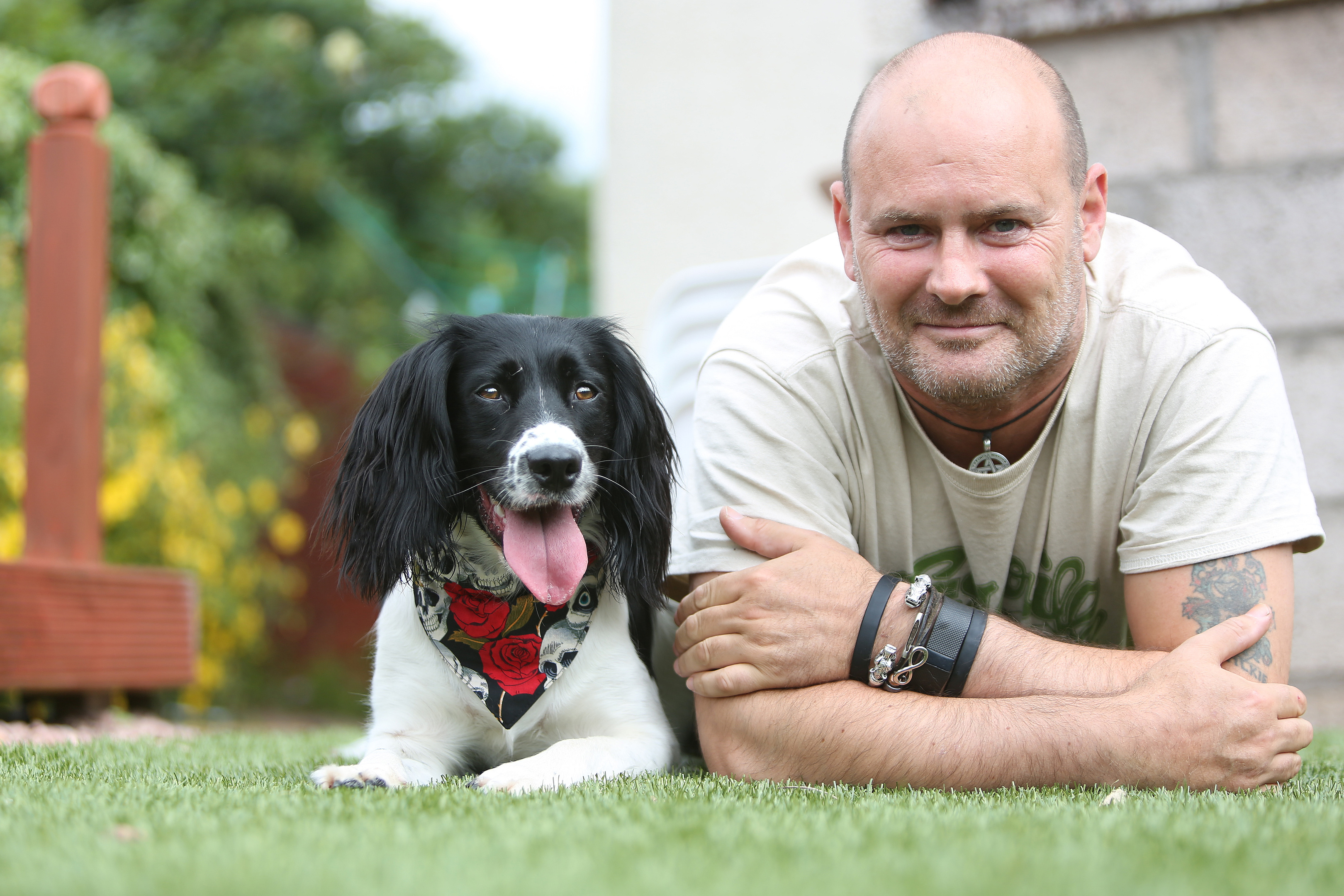 Paul Wilkie with his service dog Irma