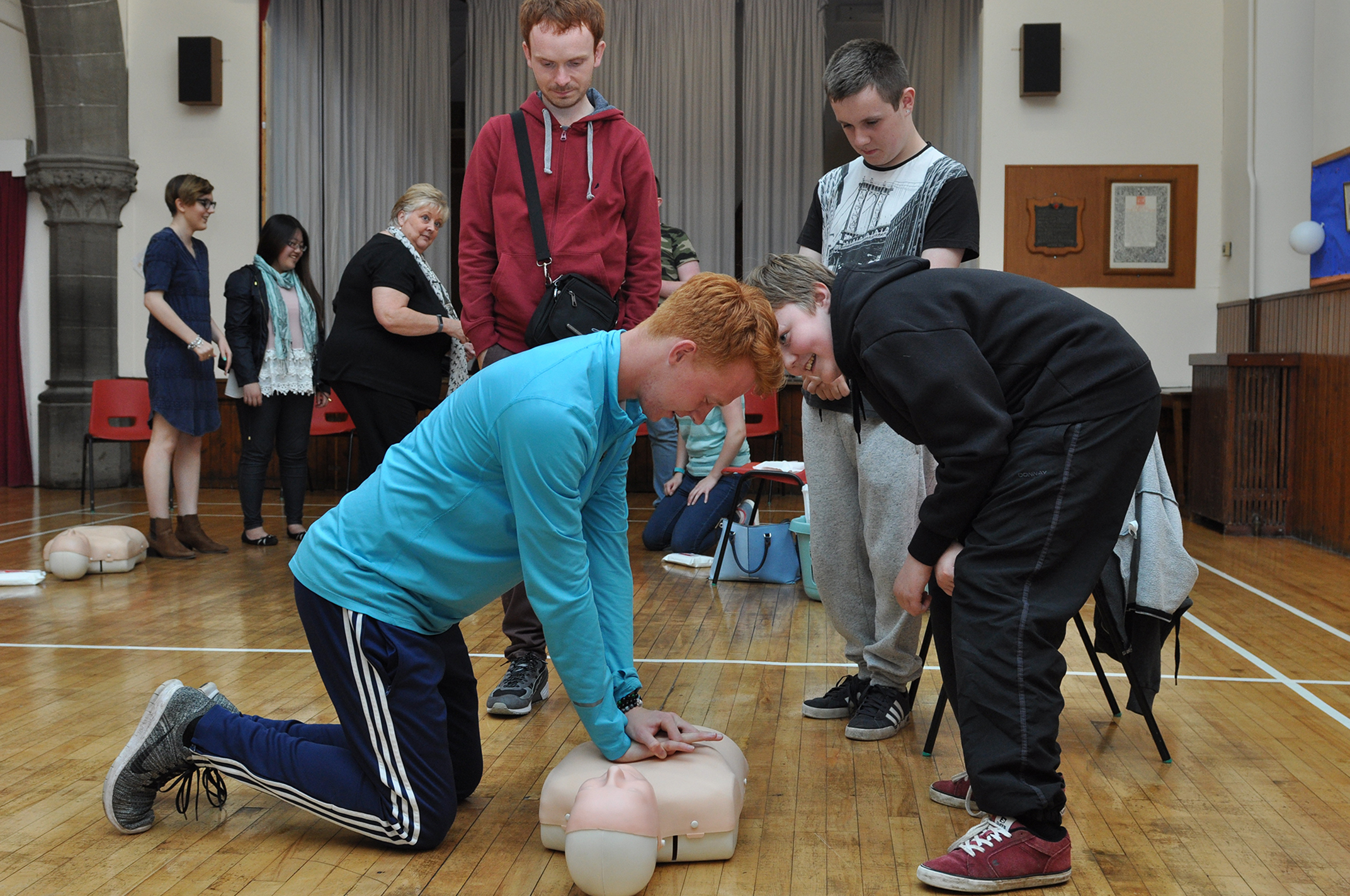 Teens have a go at First Aid at a  local Heartstart course