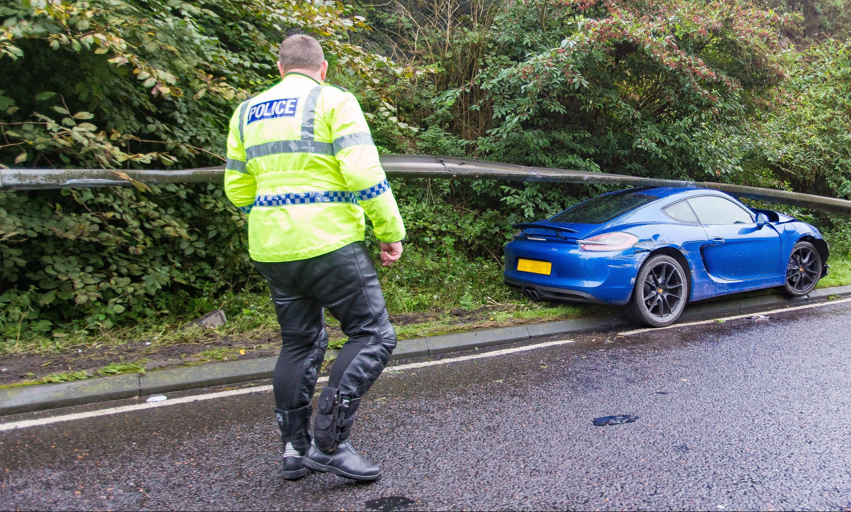 Police attend to the accident on the A92 south of the Tay Road Bridge