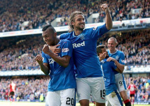 Rangers' Alfredo Morelos celebrates scoring his side's first goal with team-mate Niko Kranjcar (right)