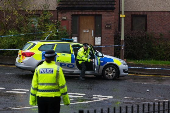 Police at the scene on Arklay Street.