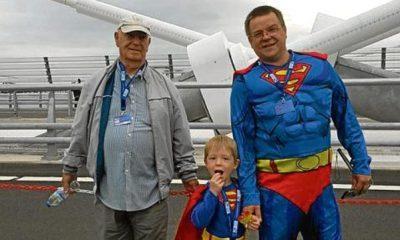 Ryan Hamilton with great granddad James and dad Robert