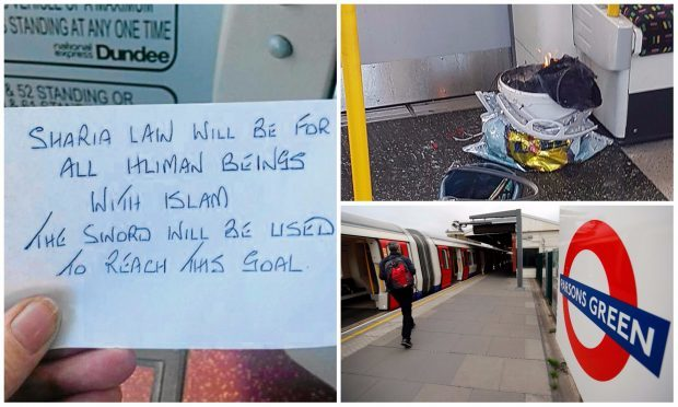 The note was found on a Dundee bus less than 24 hours after the Parsons Green bombing.