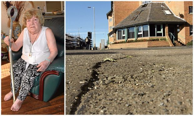 Elizabeth Grewar, pictured at the sheltered housing complex where she lives and one of the broken road surfaces she claims is dangerous.
