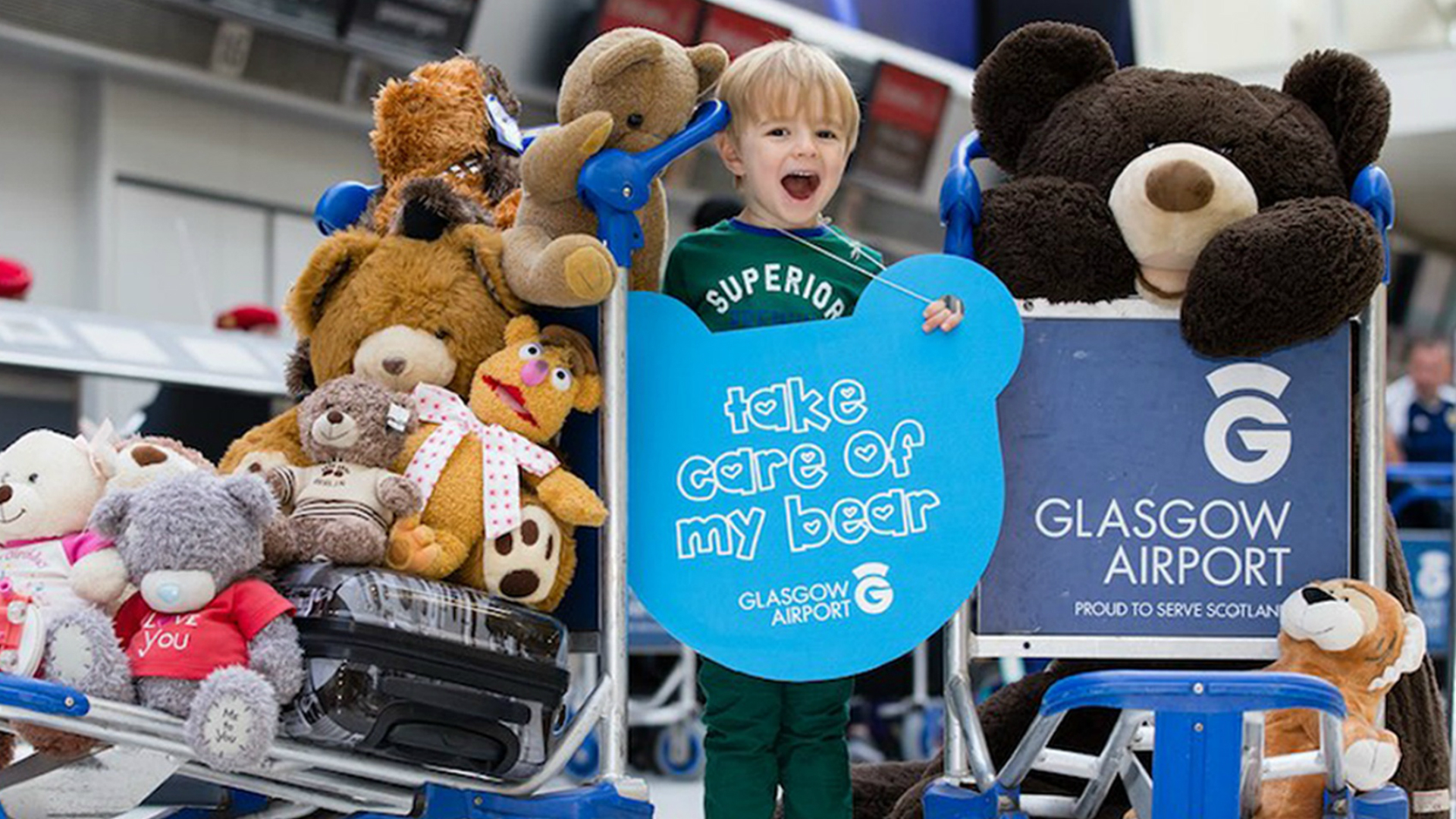 Glasgow Airport has launched tags for youngsters to attach to their toys.