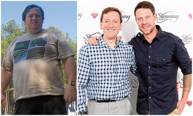 Graeme before his weight loss and after, with Wayne Bridge.