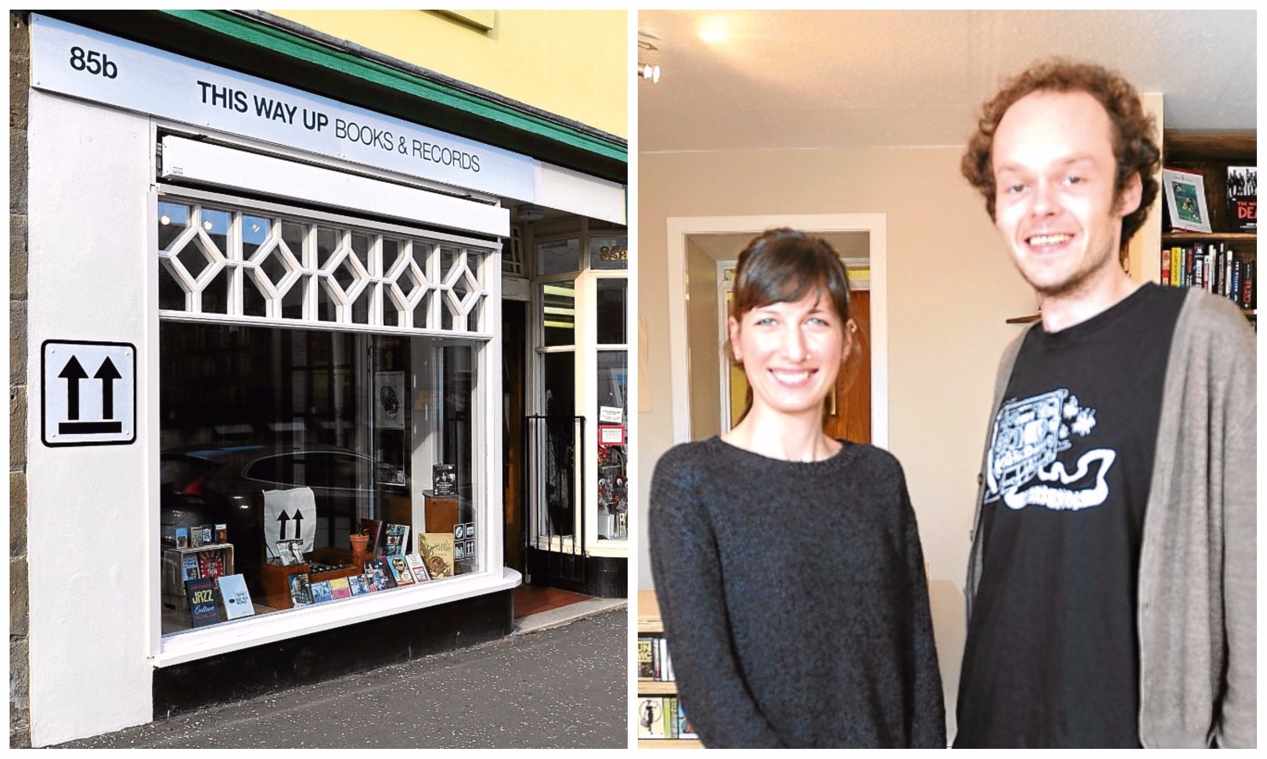 Angelina and Matt are pictured within their shop This Way Up (left).