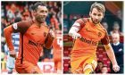 United strikers Scott McDonald and James Keatings.