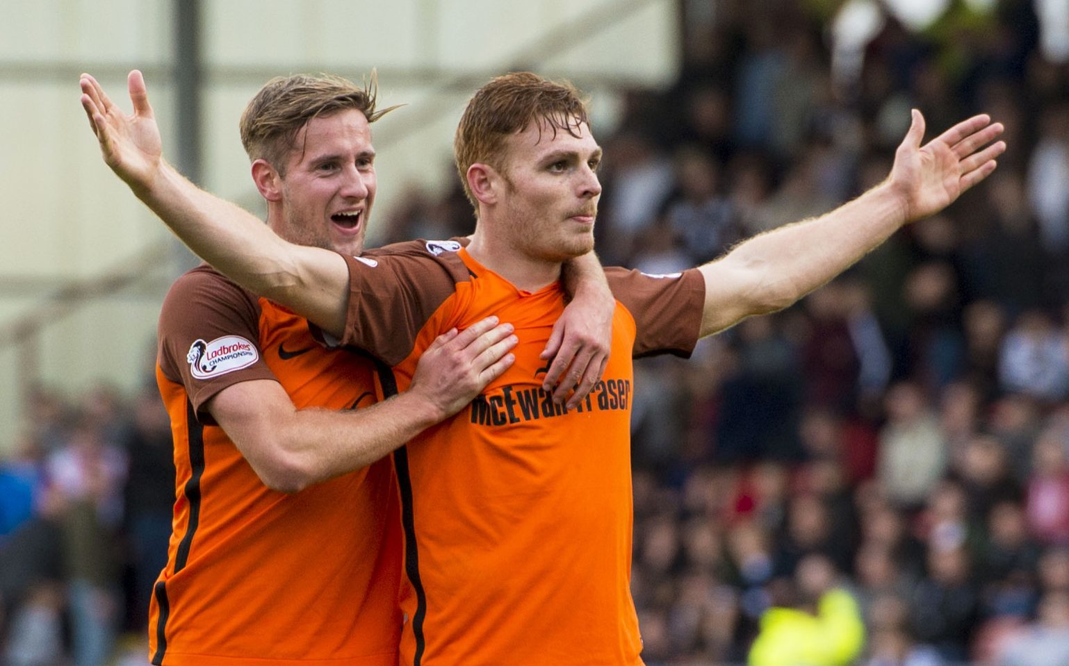 Fraser Fyvie celebrates as goal against Dunfermline earlier in the season