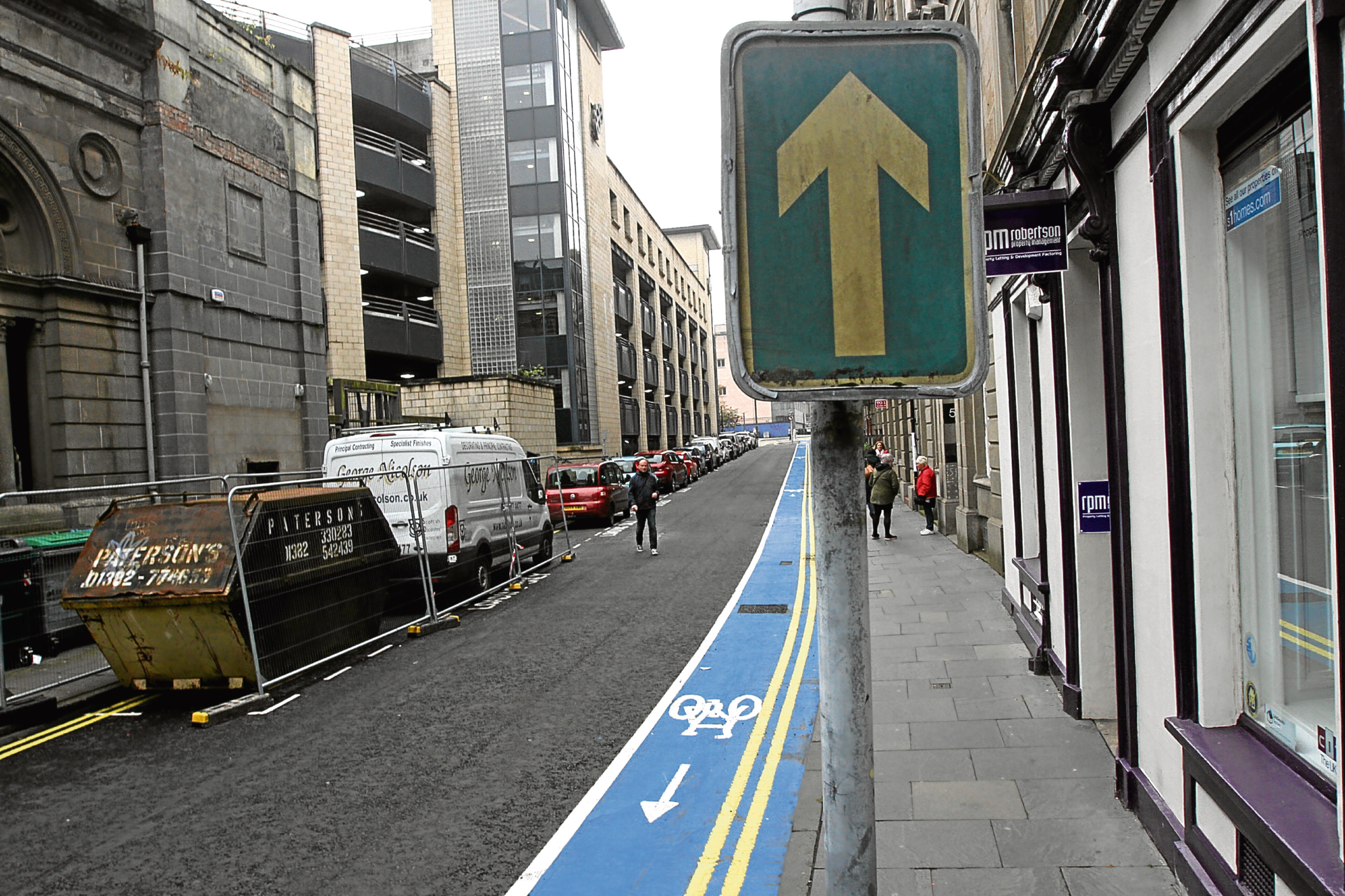 The new cycle lane in Dundee City Centre