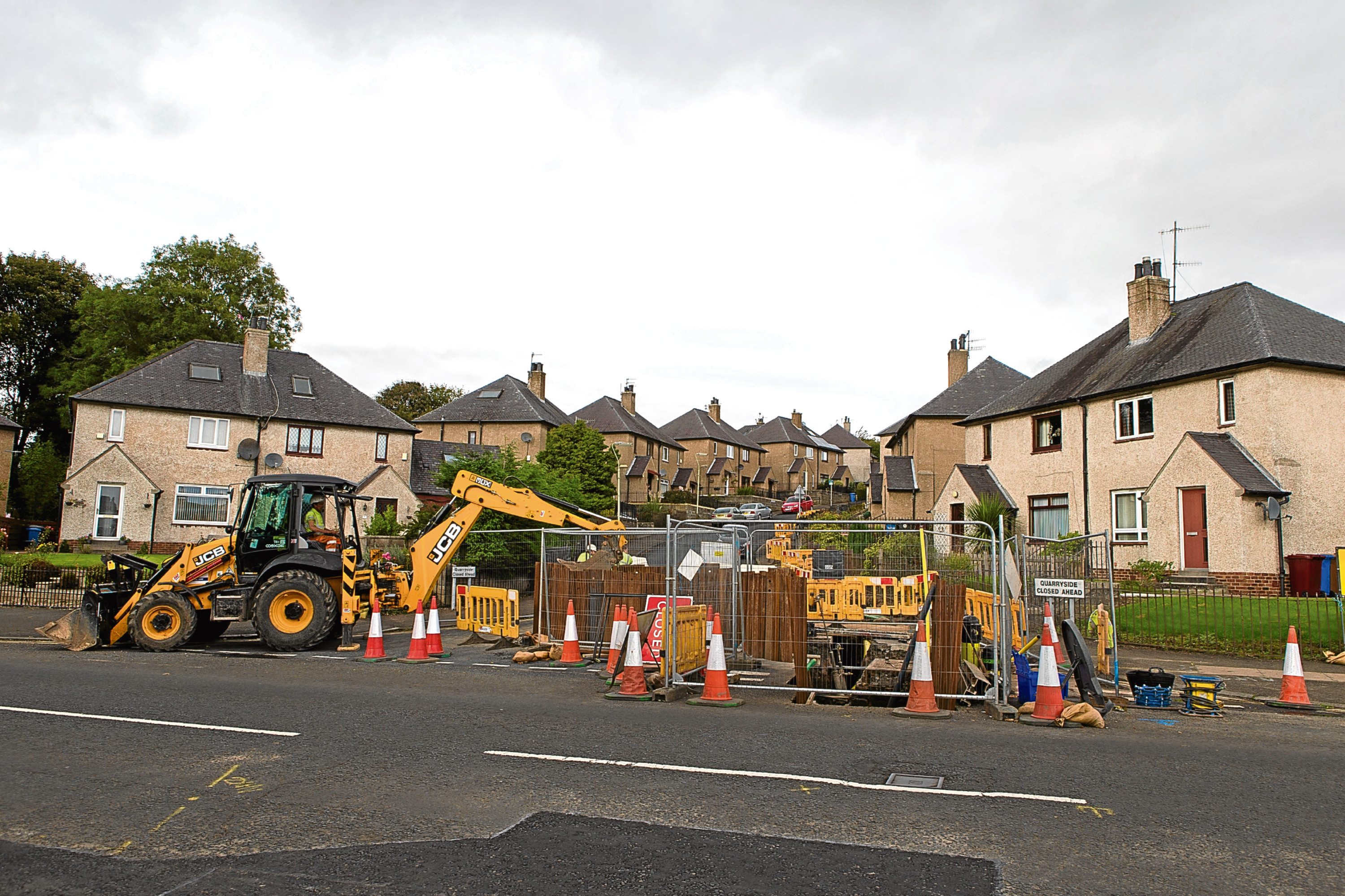 Roadworks are set to start on Coupar Angus Road later this month. Above, work has already begun on Liff Road and Quarryside.