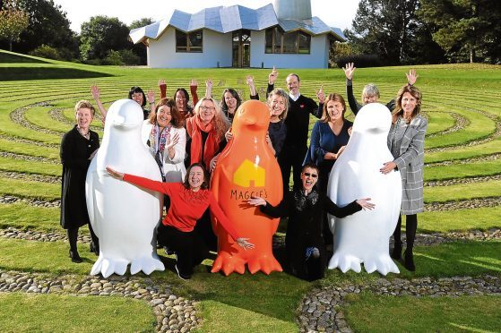 Organisers of the Penguin Parade at Maggie's in the grounds of Ninewells.