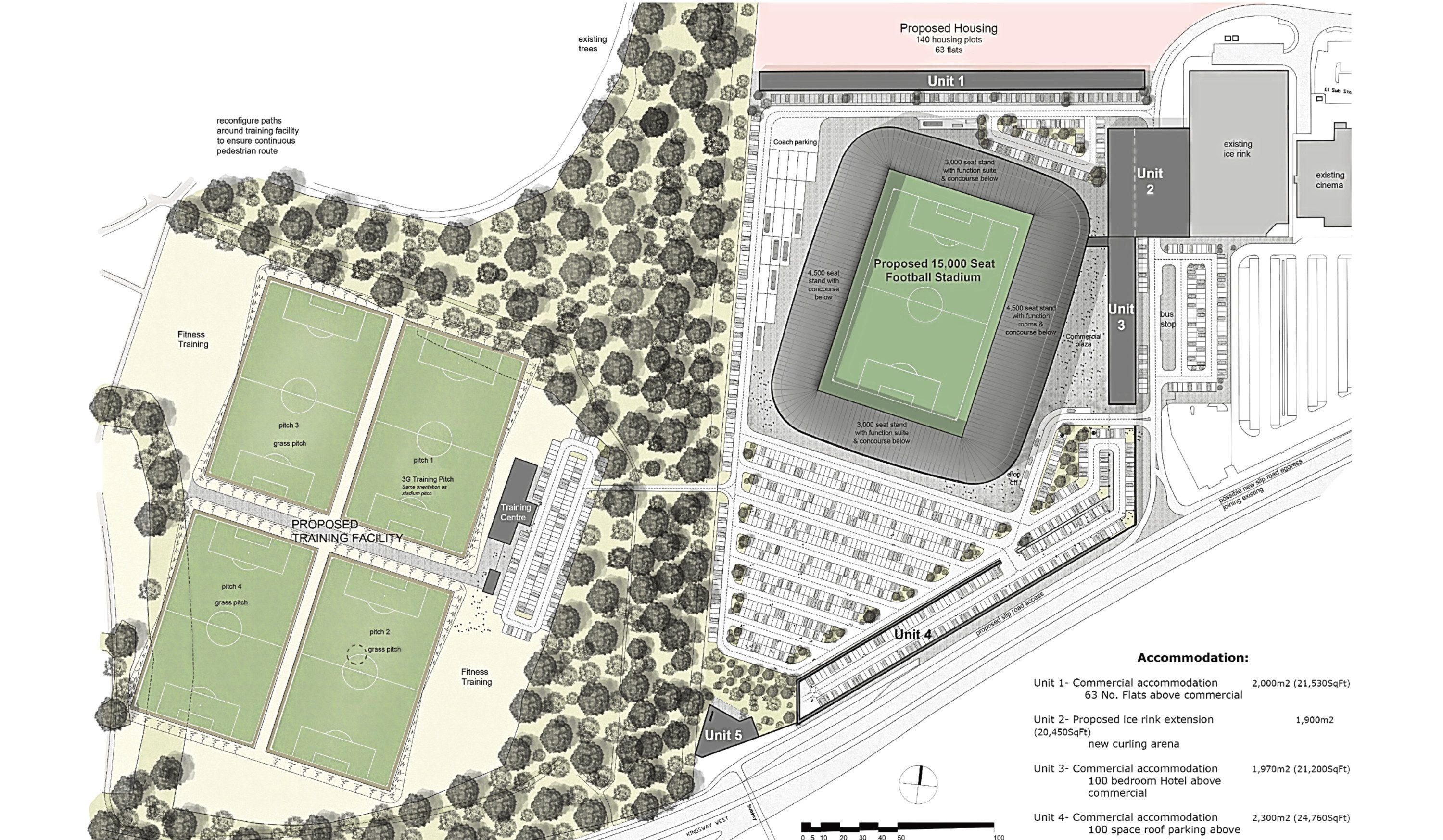 An overview of the proposed plans for Dundee FC's new stadium