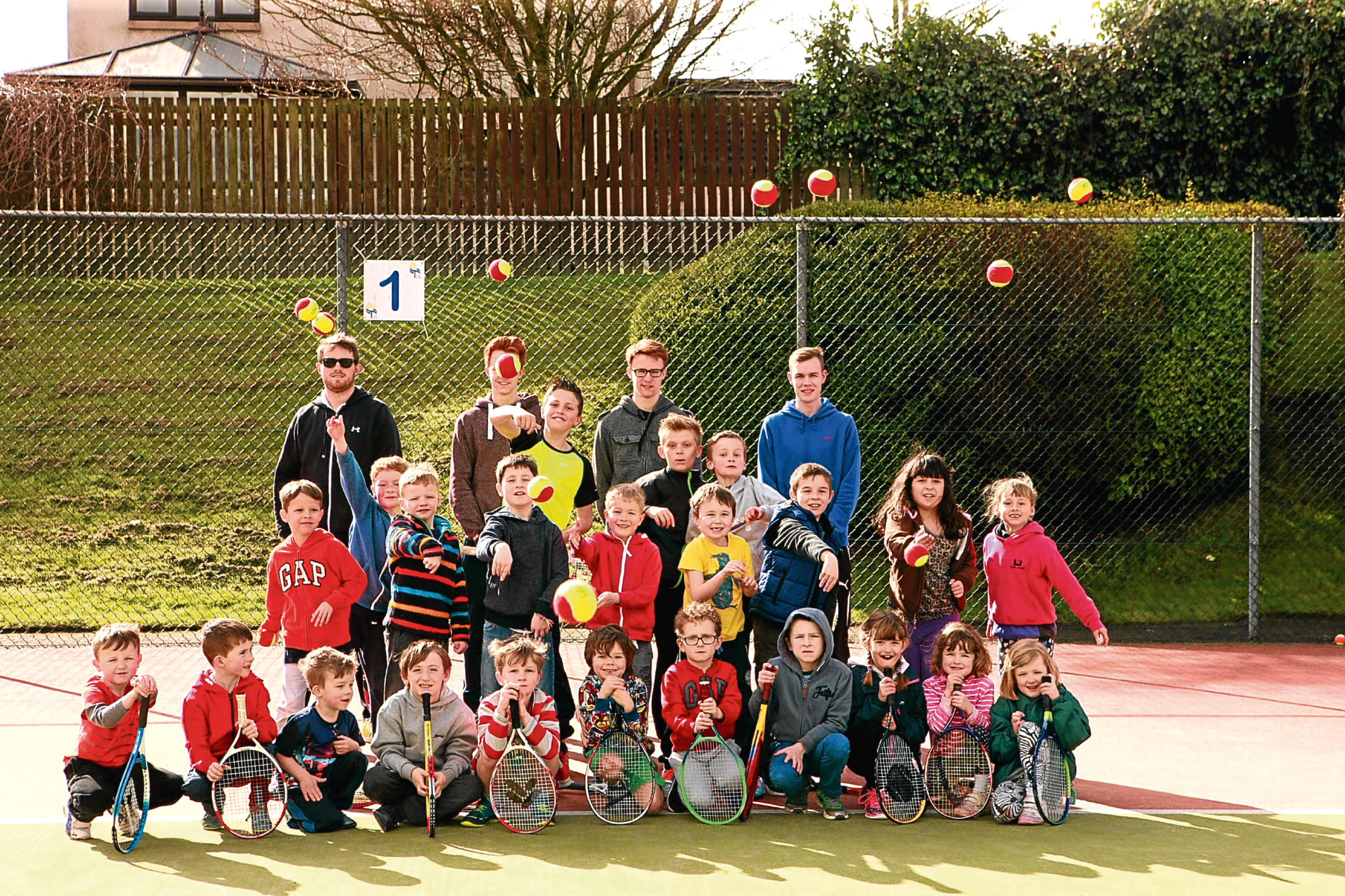Youngsters at Broughty Ferry Tennis Club earlier this year