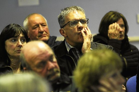 People attend a meeting of Save Kingspark for the Community group at Kirkton Community Centre