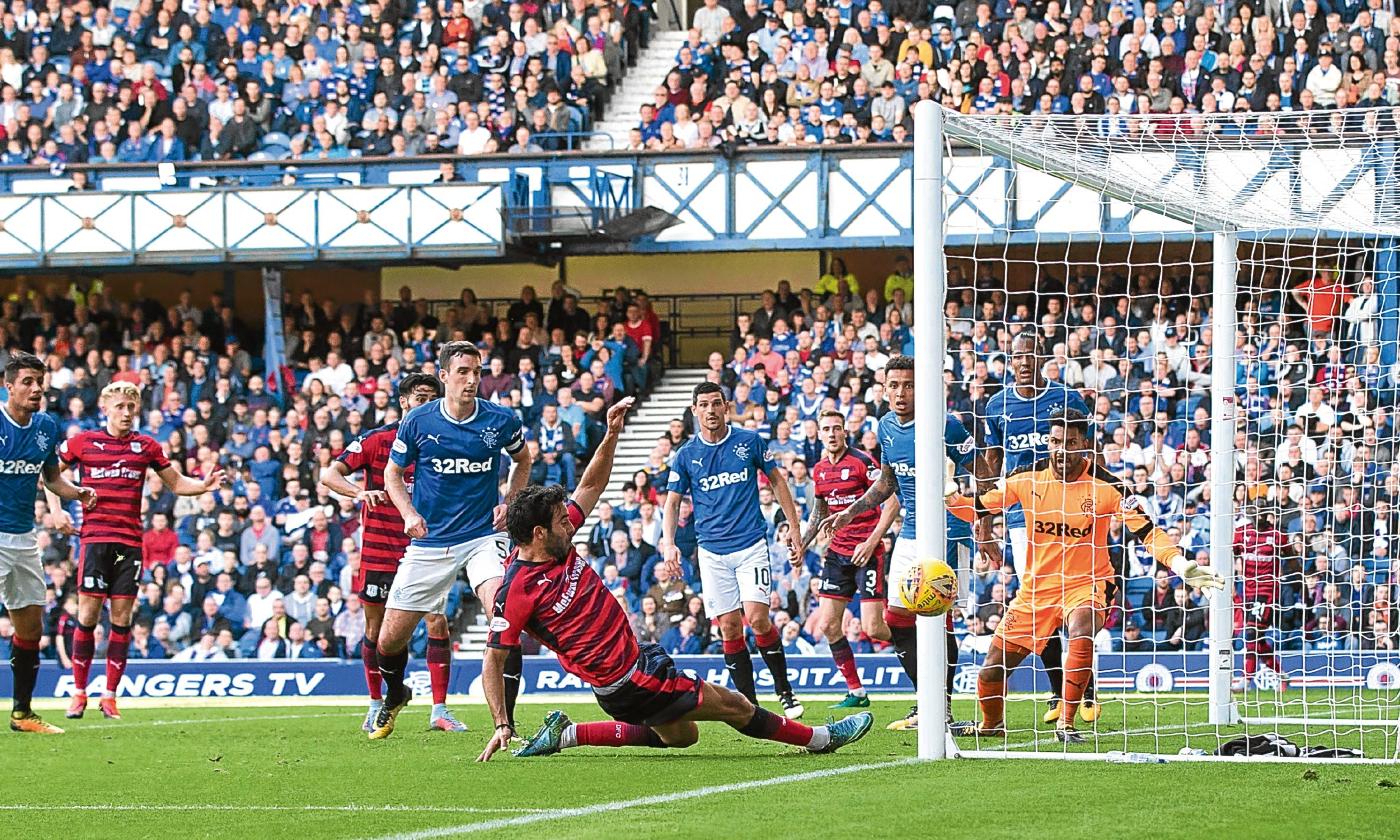 Dundee's Sofien Moussa is inches away from levelling the scores early in the second half against rangers
