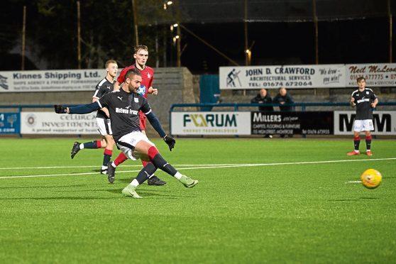 Haber scores the equaliser against Falkirk in the SPFL Development League at Links Park