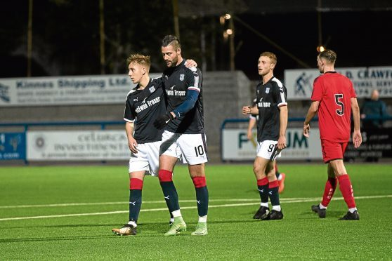 Marcus Haber (No 10) celebrates his goal for Dundee U/20s against Falkirk with Jack Lambert.
