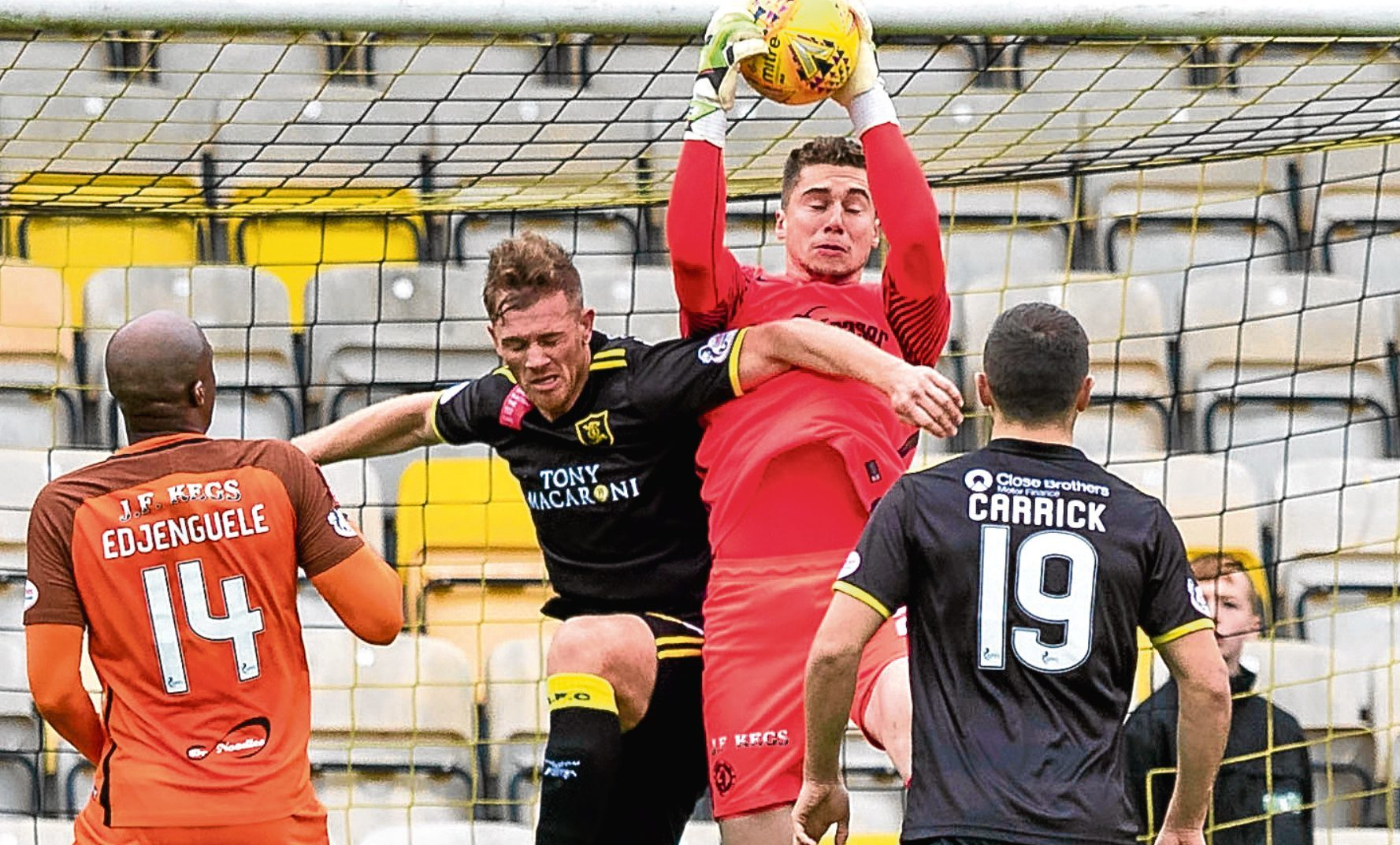 Harry Lewis goes up to collect the ball in Dundee United's 2-0 loss away to Livingston last Saturday. He is determined to put that defeat right against Inverness.