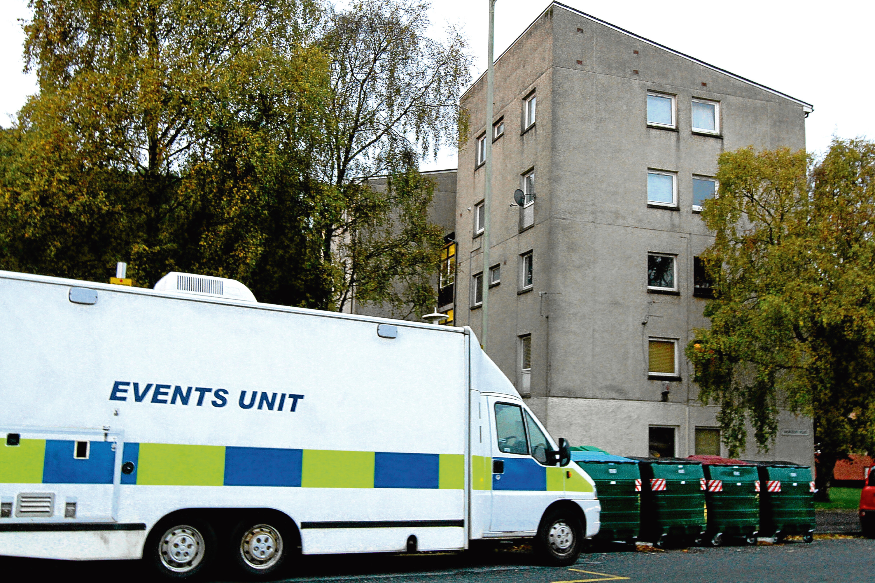 A police van at the scene at Nursery Road, Broughty Ferry.