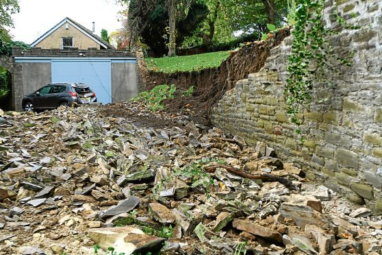 The collapsed wall at Ellieslea Road in Broughty Ferry