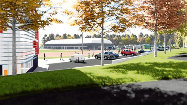 An early artist's impression for a sports centre at Caird Park.