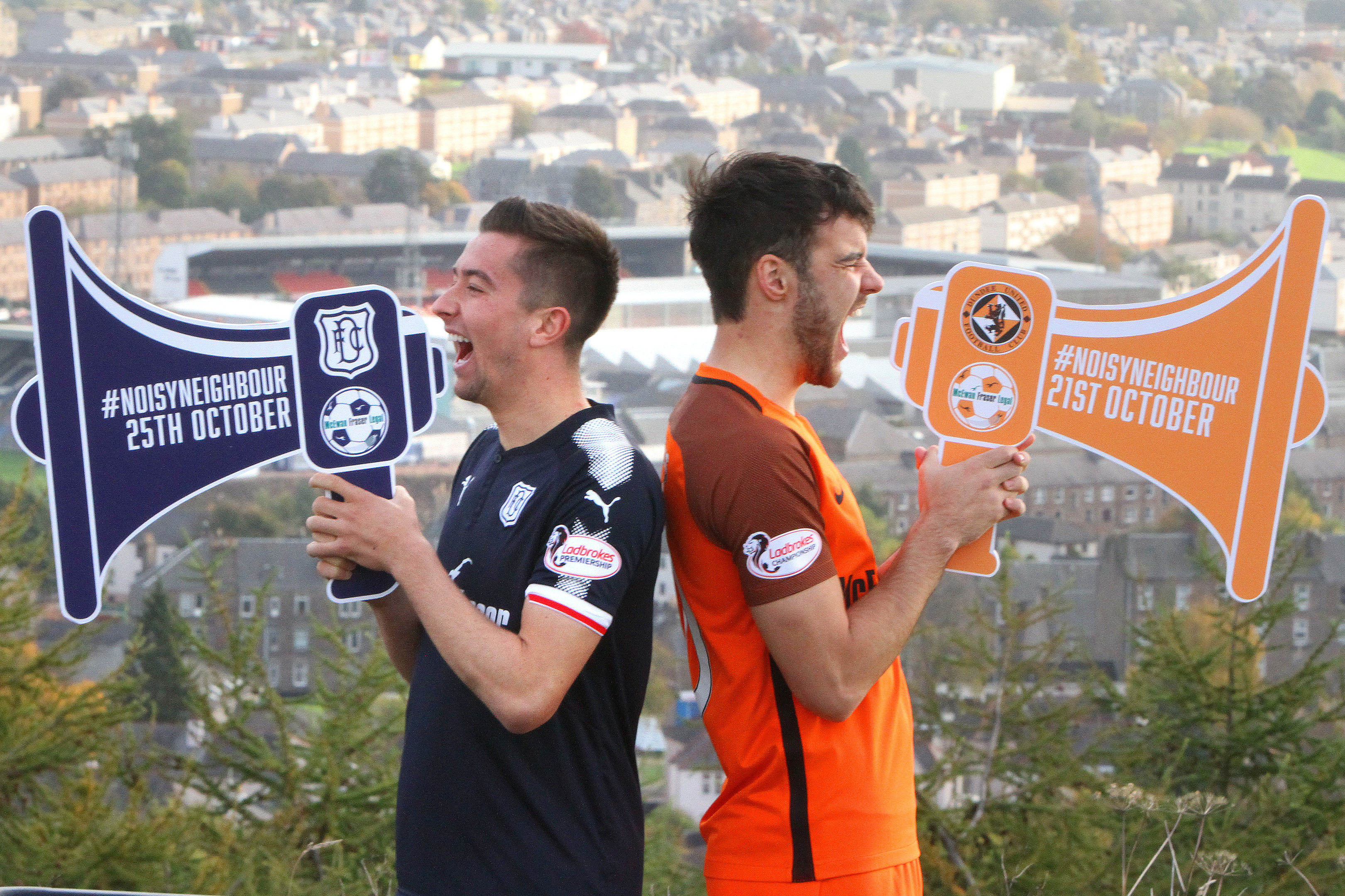 Cammy Kerr of Dundee and Scott Fraser of Dundee United practice ahead of the noise challenge