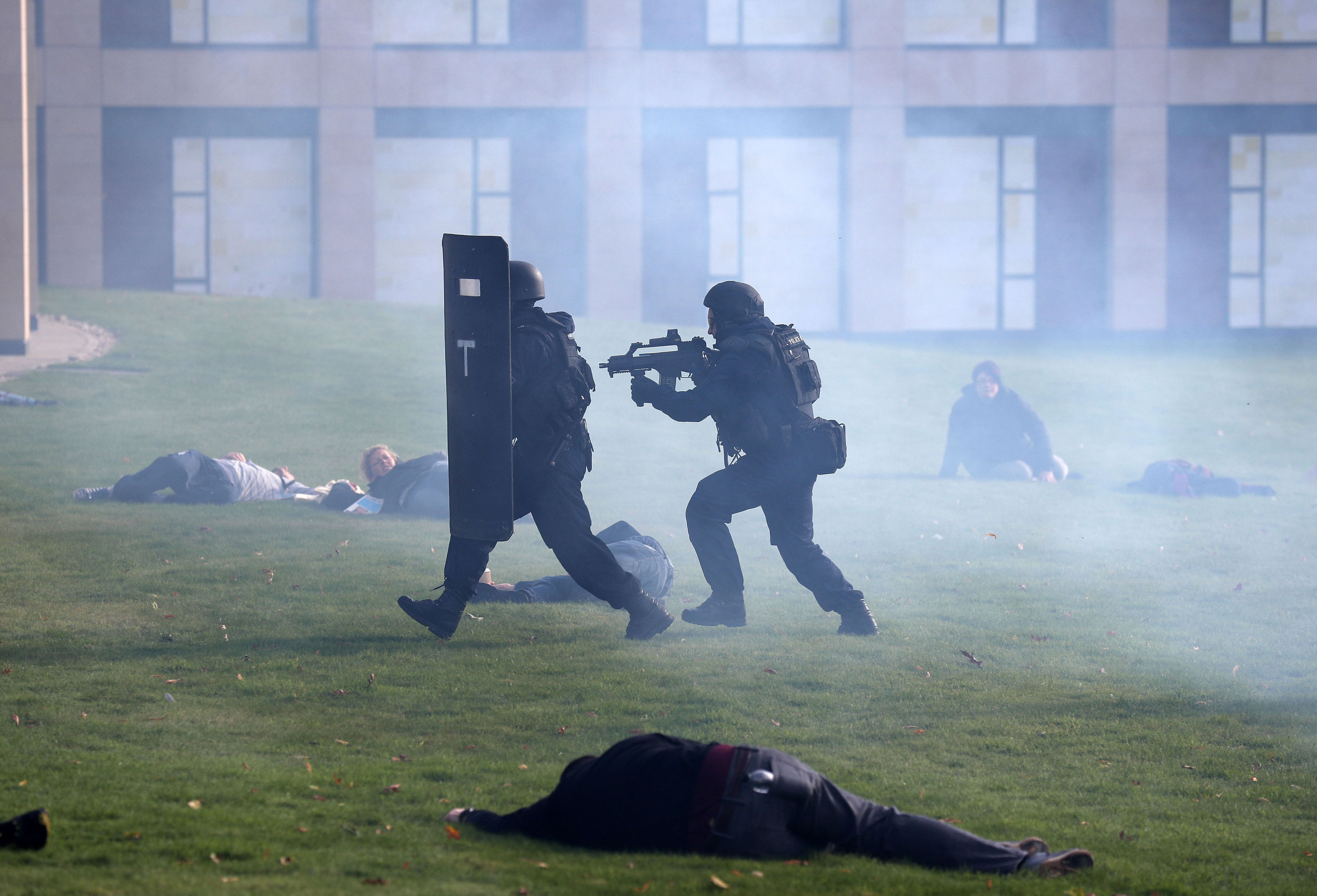 Police officers taking part in the counter-terrorism exercise