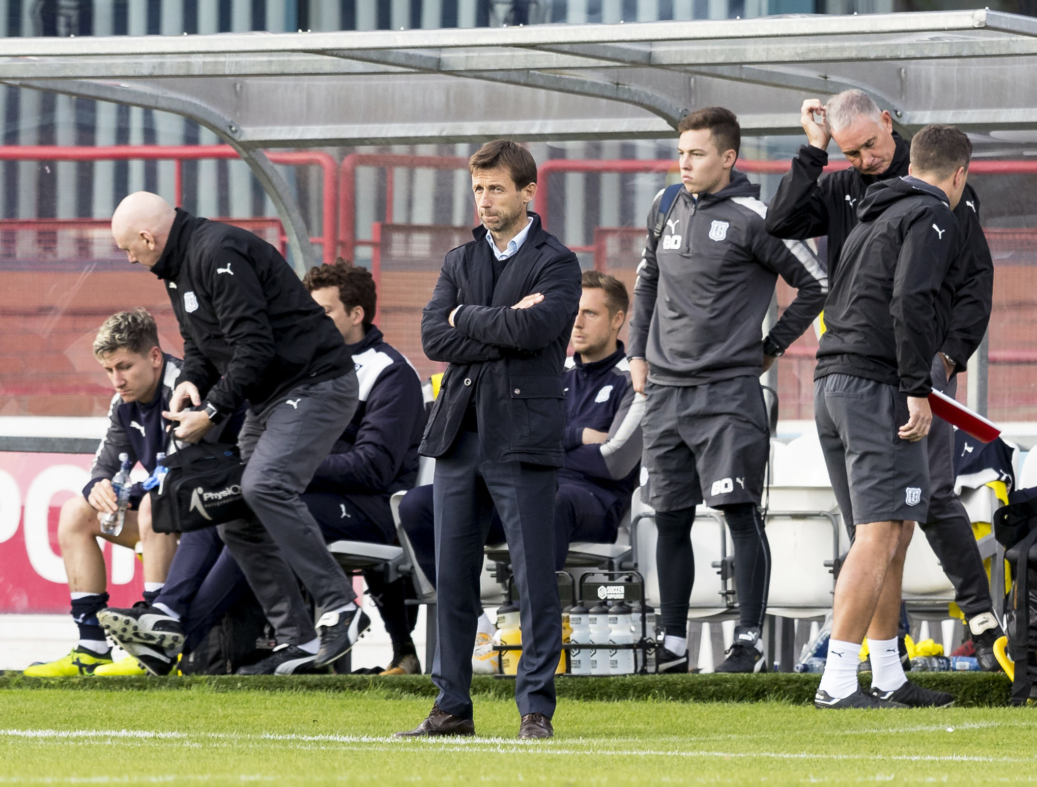 Dundee Manager Neil McCann looks on during the game against Hamilton