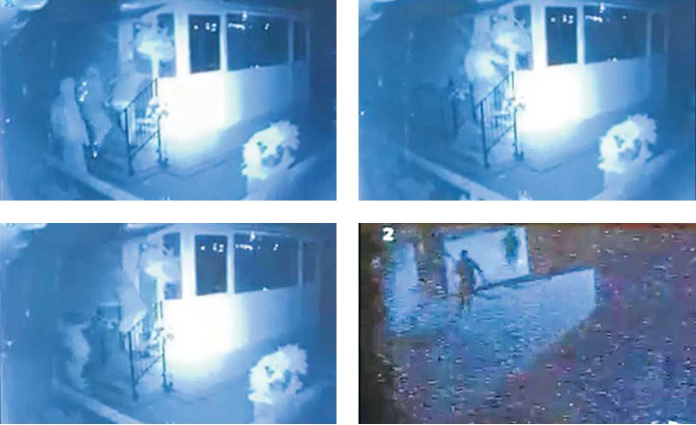CCTV shows the three thieves entering the home then running out after being chased by someone inside.