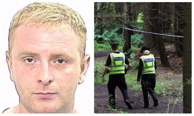 A recent police image of Robbie McIntosh and officers at Templeton Woods