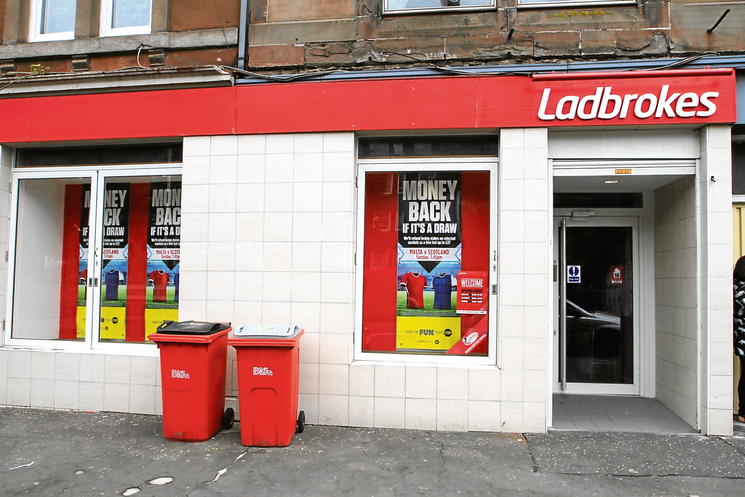 The Strathmartine Road betting shop.