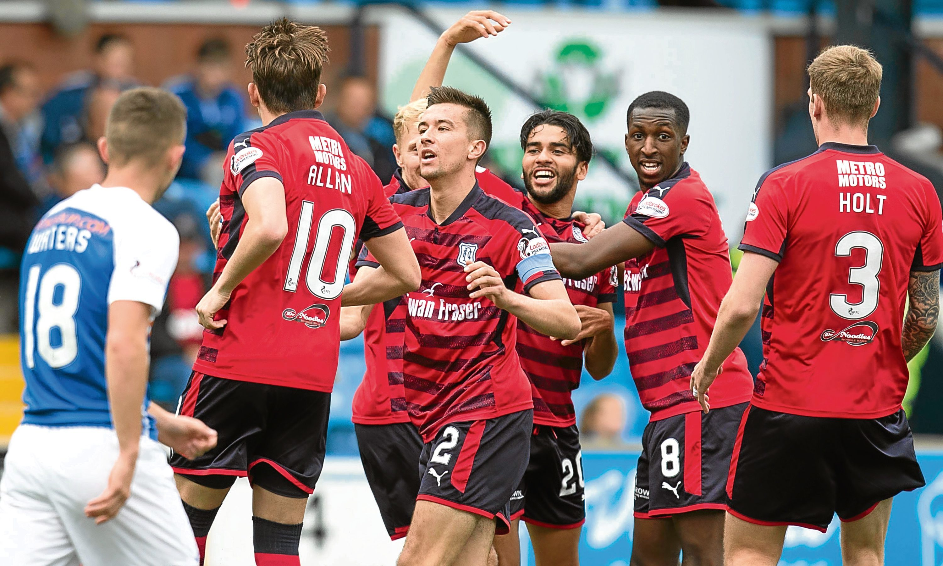 Dundee's Faissal El Bakhtaoui (number 20) celebrates after scoring at Rugby Park during the 1-1 draw against this weekend's visitors Kilmarnock back in September