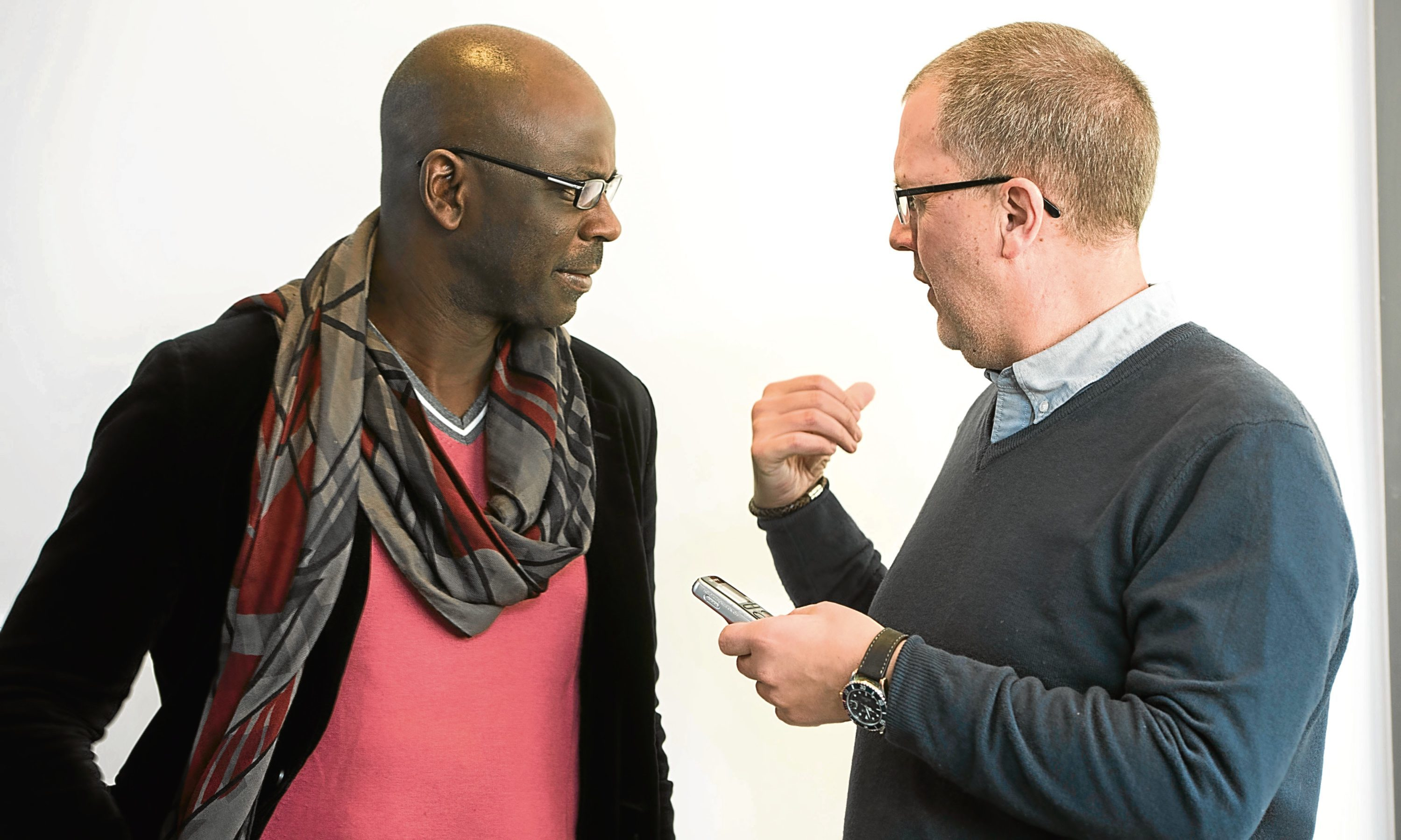 Lilian Thuram is interviewed by Tele sports writer Tom Duthie