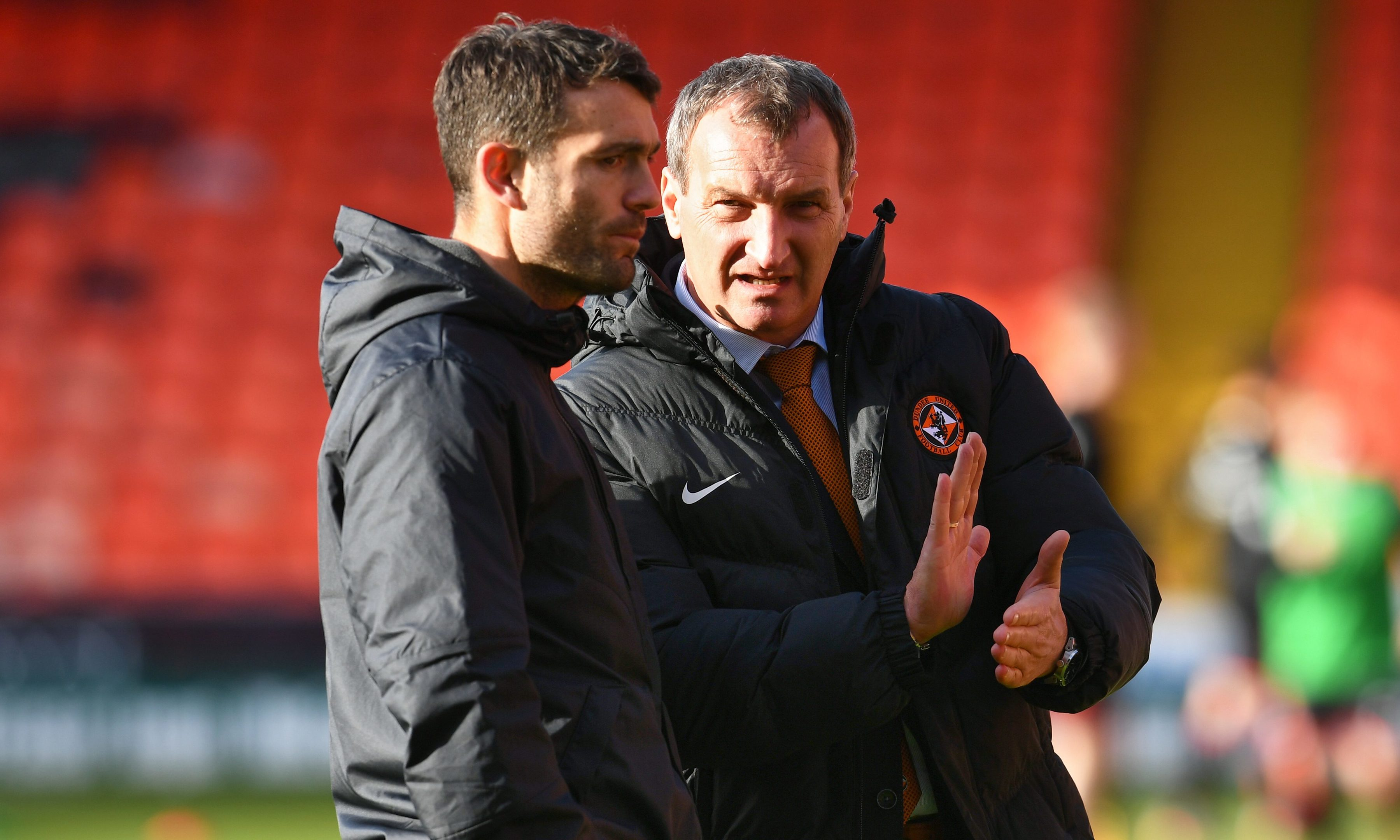 Dundee United's new boss Csaba Laszlo (right) with his assistant manager Laurie Ellis