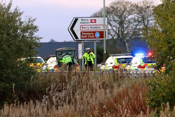 Police at the scene of the accident
