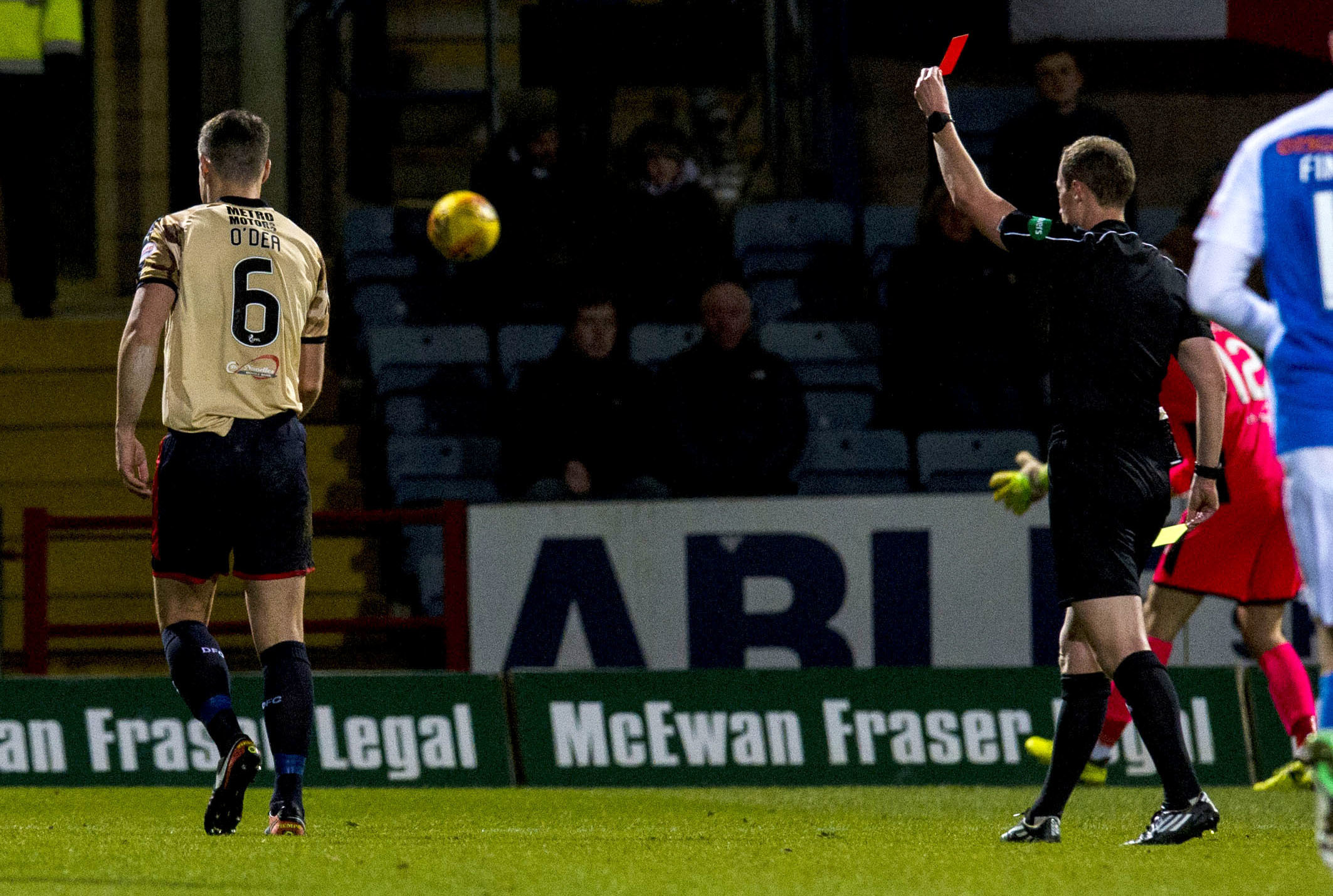 Dundee captain Darren O'Dea receives his marching orders against Killie.