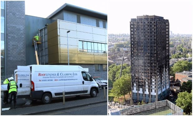Workers at the research centre and (inset) the fire-ravaged Grenfell tower.