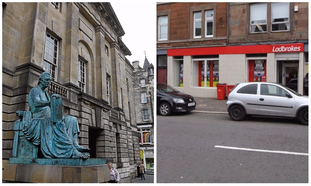 The High Court in Edinburgh and the Ladbrokes store on Strathmartine Road