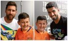 Sam pictured with Barcelona forward Lionel Messi and Luis Suarez