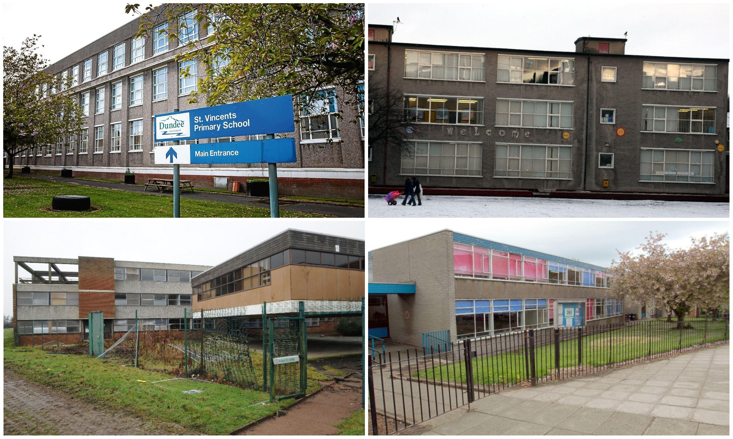 Clockwise: St Vincent's Primary, Charleston Primary, Gowriehill and Menzieshill High buildings are just some of those to be turned into housing.