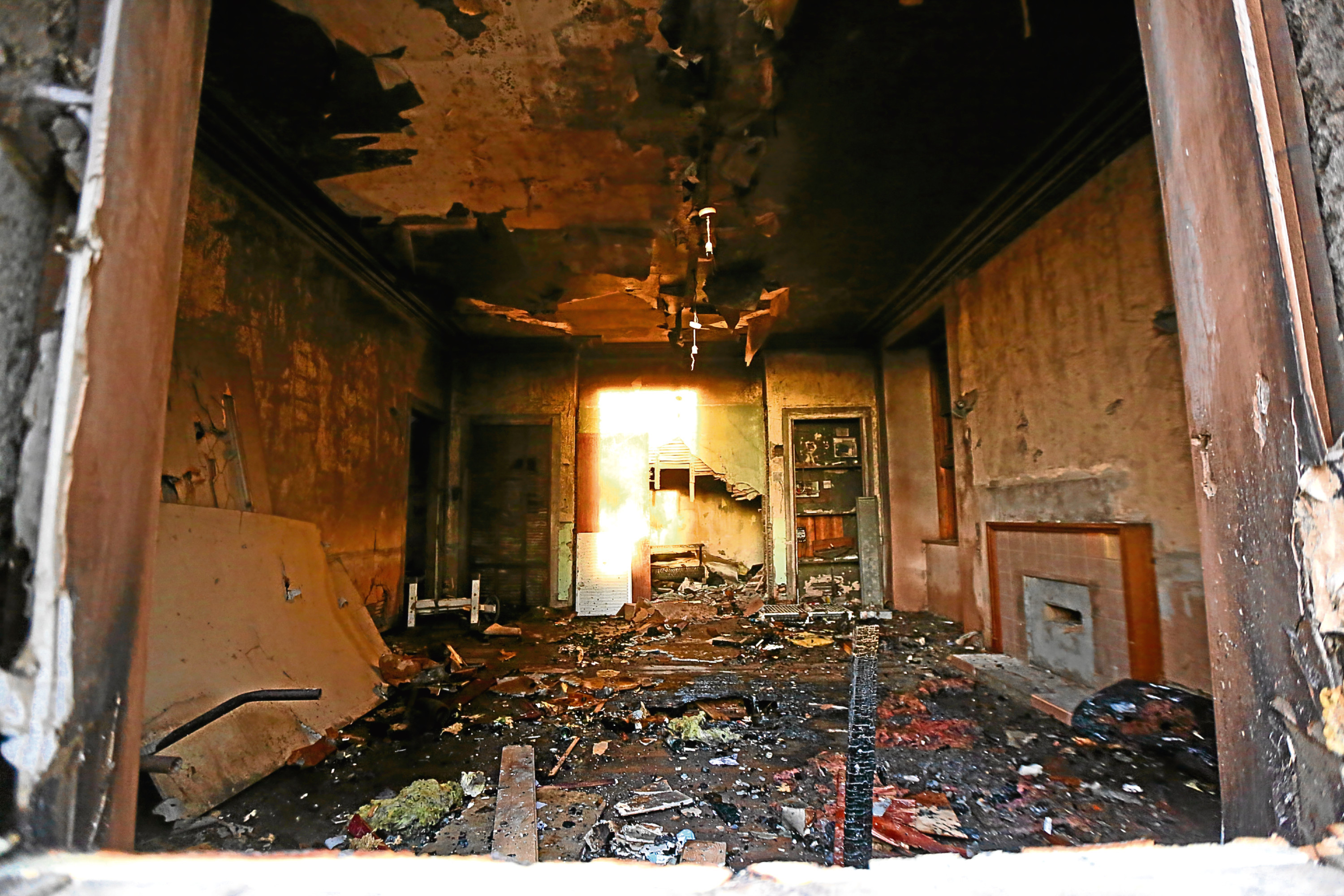 The damage at the derelict Forebank House in Eadies Road.