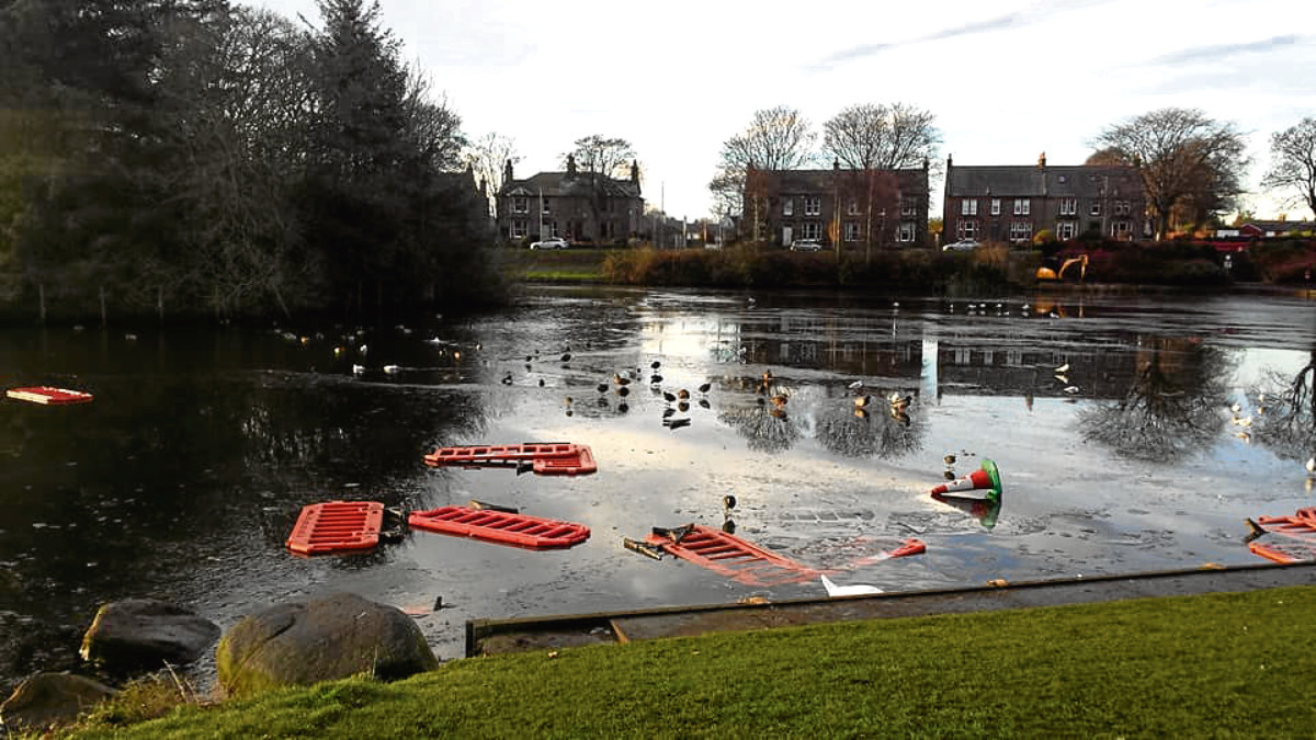 Barriers and cones were thrown into Keptie Pond in Arbroath.