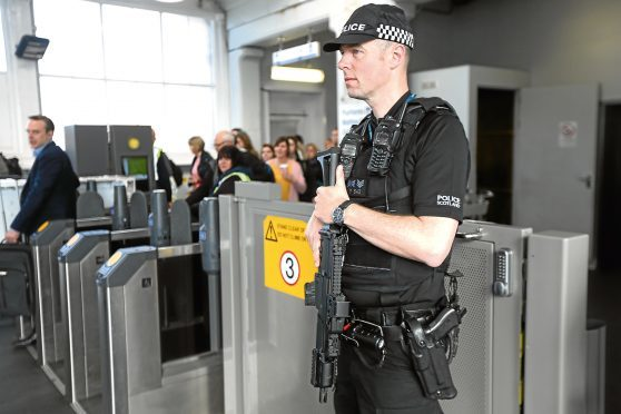 Armed police officers at Dundee Railway Station