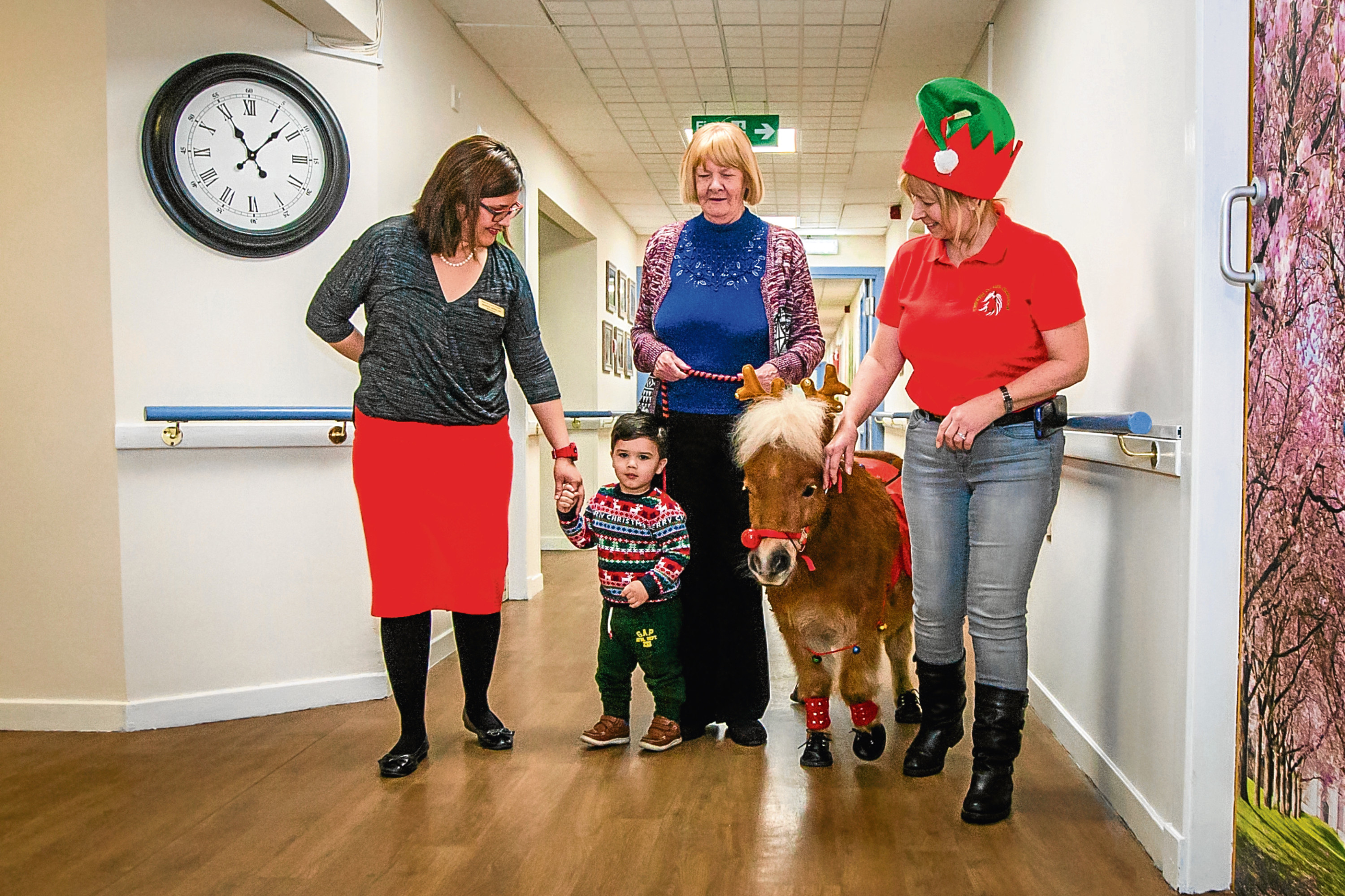 From left, Jasmine with her son Christopher, 18 months, resident Roberta Alexander, 70, and Elaine Sangster with Flicker the pony