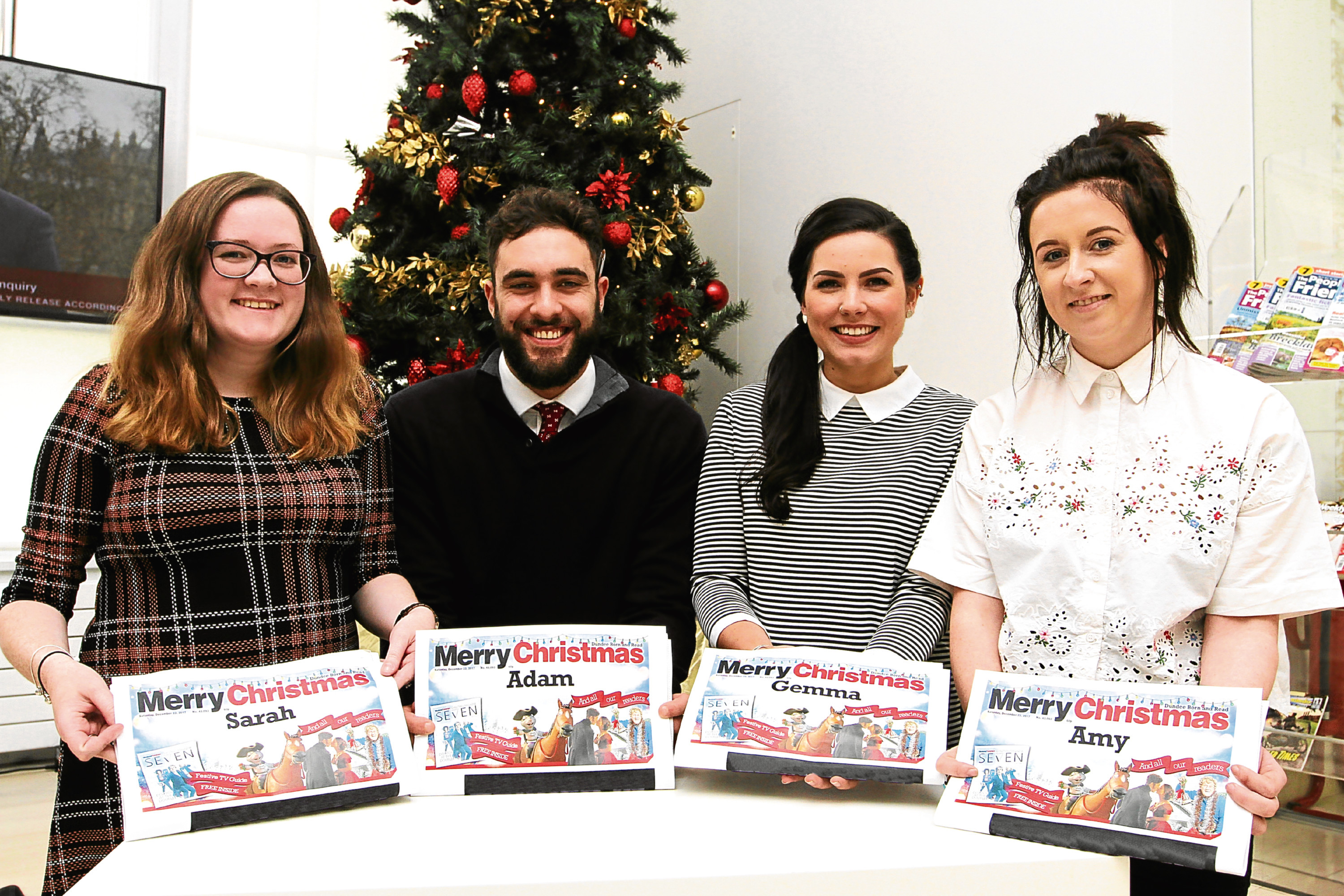 Tele staff Sarah Williamson, Adam Hill, Gemma Day and Amy Hall with their personalised newspapers.